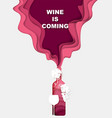 paper cut red wine bottle splash glass grapes vector image