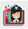 person within TV isolated icon design vector image