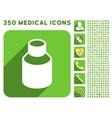 Phial Icon and Medical Longshadow Icon Set vector image