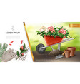 realistic gardening colorful concept vector image