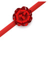 red gift ribbon with round rosette bow realistic vector image vector image