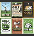 retro golf club golfing sport equipment and player vector image vector image