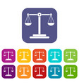 scales balance icons set flat vector image vector image