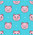 seamless pattern with pink cartoon funny pigs vector image vector image