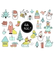 set christmas and new year doodle holiday vector image vector image