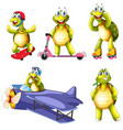 set of turtle character vector image