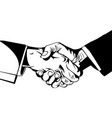 simple black and white two men shaking hands vector image vector image