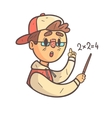 Smart Boy In Cap And College Jacket Hand Drawn vector image vector image
