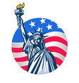 statue liberty with usa flag as background vector image