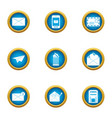 submit icons set flat style vector image vector image
