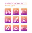 summer camping icon set summer holiday vector image vector image