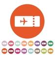 The blank ticket plane icon Travel symbol Flat vector image