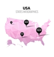 USA America polygonal triangle pink map vector image vector image