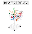 Various Craft Tools in Black Friday Shopping Cart vector image vector image
