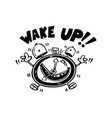 wake up alarm cartoon vector image
