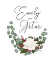 wedding floral watercolor style invitation card vector image vector image