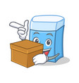with box eraser character mascot style vector image vector image
