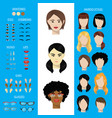 woman face constructor set female character vector image vector image