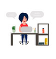 young girl developer working at office table vector image vector image