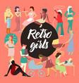 retro women collection vintage faceless ladies vector image