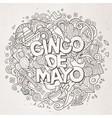cinco de mayo cartoon hand drawn doodle vector image