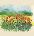 colorful meadow with red tulips at spring time vector image