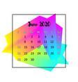 2020 calendar design abstract concept june vector image vector image