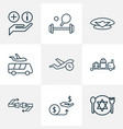 airport icons line style set with sport equipment vector image vector image
