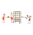 bakers characters set people in uniform working vector image