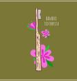 bamboo eco-friendly teethbrush hand drawn vector image