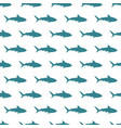 blue sharks seamless pattern on white vector image
