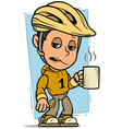 cartoon cyclist boy character with cup of coffee vector image