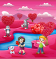 childrens cartoons celebrate valentine day with ma vector image vector image