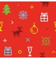 Christmas pixel art seamless background with deers vector image
