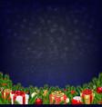 christmas retro postcard vector image vector image