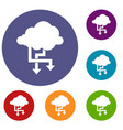 cloud and arrows icons set vector image vector image