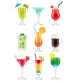 cocktails realistic alcoholic drinks in glasses vector image