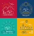 Concept bike line art bicycle set poster nature vector image