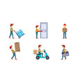 Courier or delivery men set workers delivering