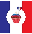 cupcake in french traditional colors vector image vector image