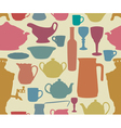 Dishes silhouettes seamless vector image vector image