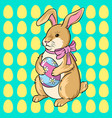 easter bunny with egg pop art vector image