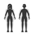 fat and slim man and women silhouette set vector image