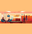 firefighters in fire station recreation room relax vector image vector image