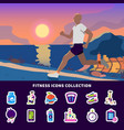 fitness icons collection vector image vector image