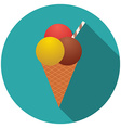Flat design icecream icon with long shadow vector image