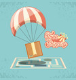 free shipping service with parachute icon vector image