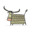 funny sketch bull lunar horoscope sign happy new vector image vector image
