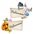 Halloween labels with pumpkin head and ghost vector image