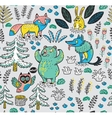 Hand drawn seamless pattern with funny colorful vector image vector image